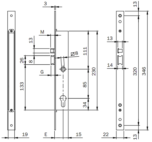 Размеры электомеханического замка ISEO 781802252